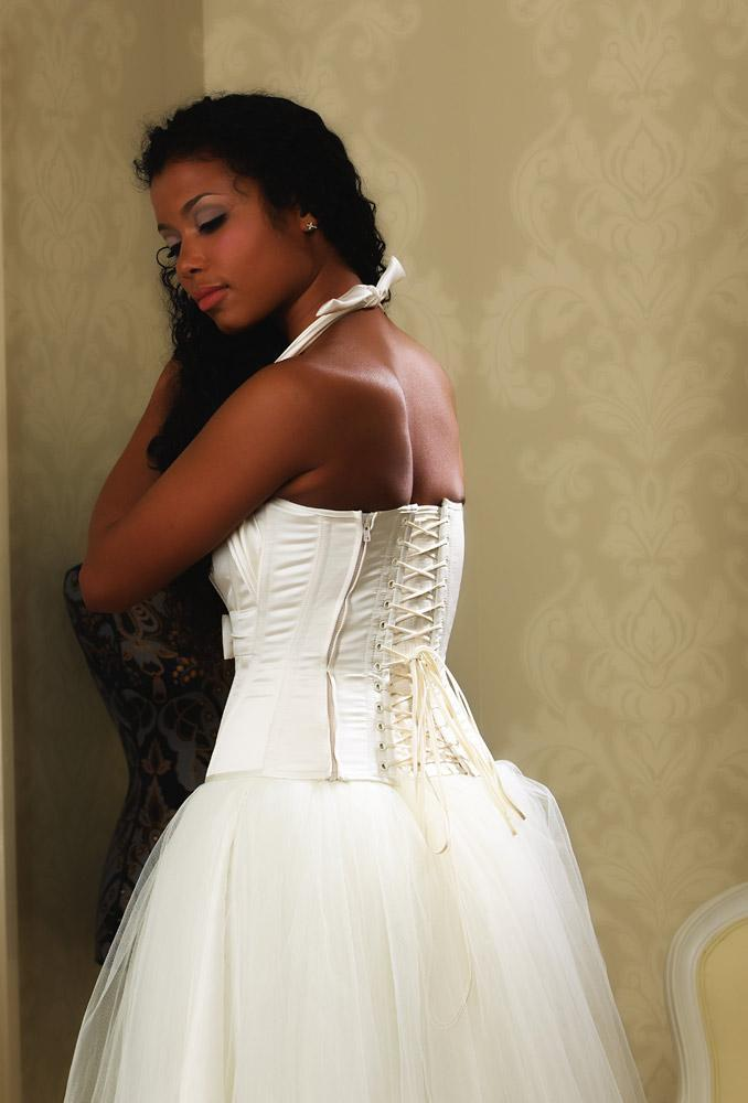 Back image of Ivory satin corset with concealed zip