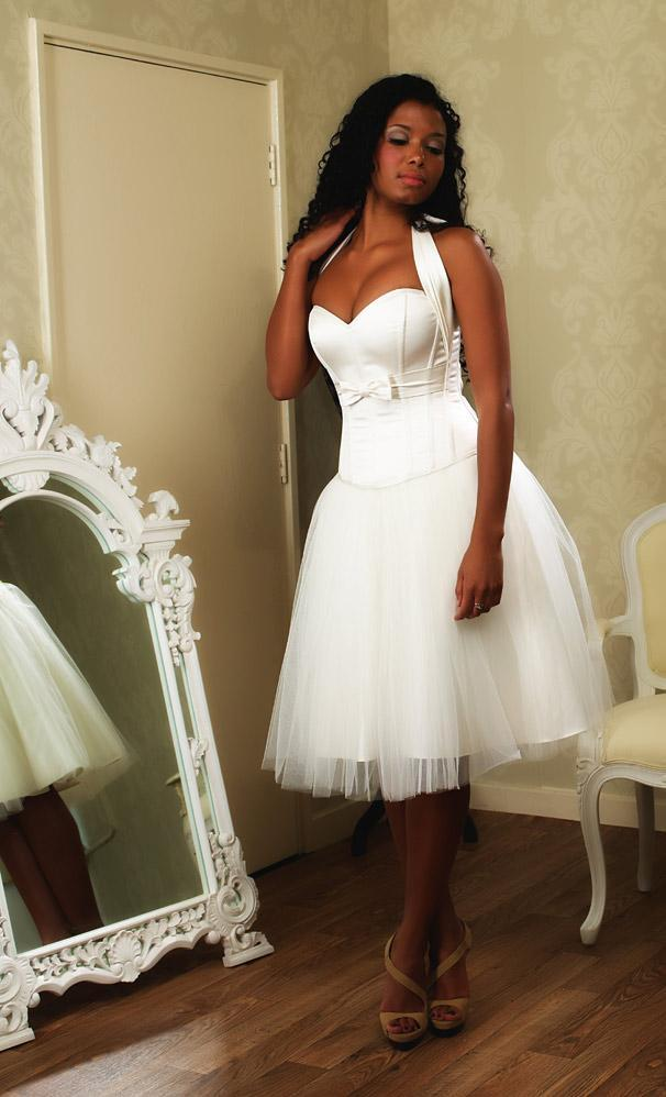 Image of Ivory satin corset with concealed zip