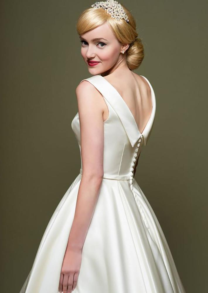 Ivory bridal satin tea length wedding gown also available in other colours