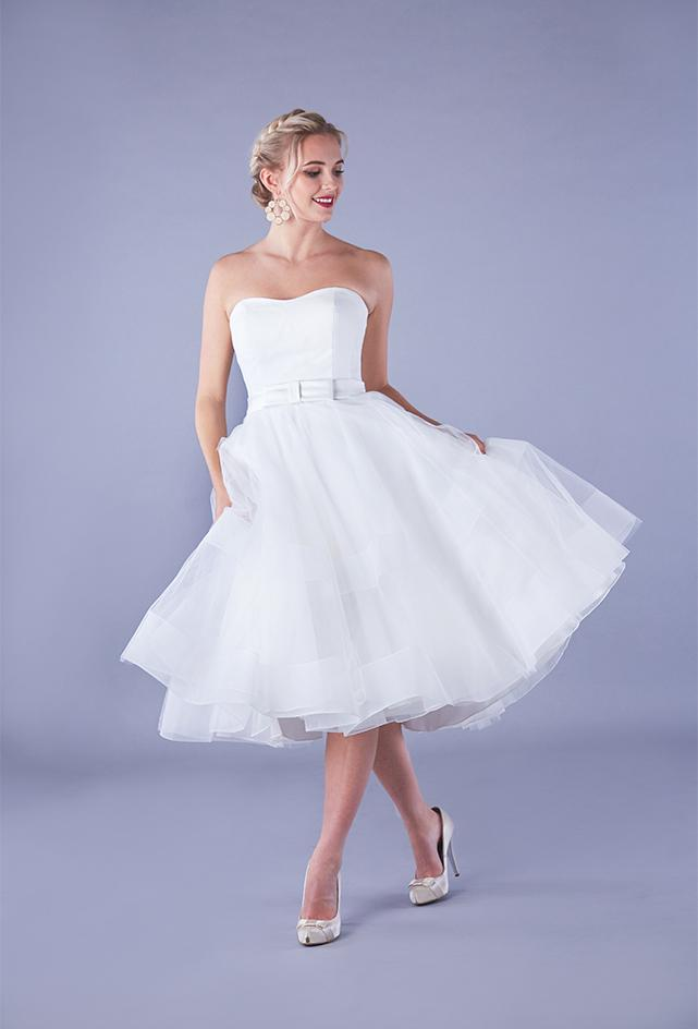 Image of the Alba satin strapless 50's style wedding gown with short chrin and tulle full skirt.