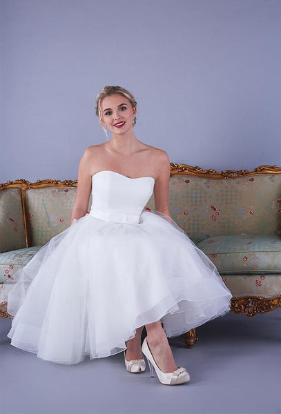 Image of the Alba satin strapless Fifties style wedding gown with short chrin and tulle full skirt.
