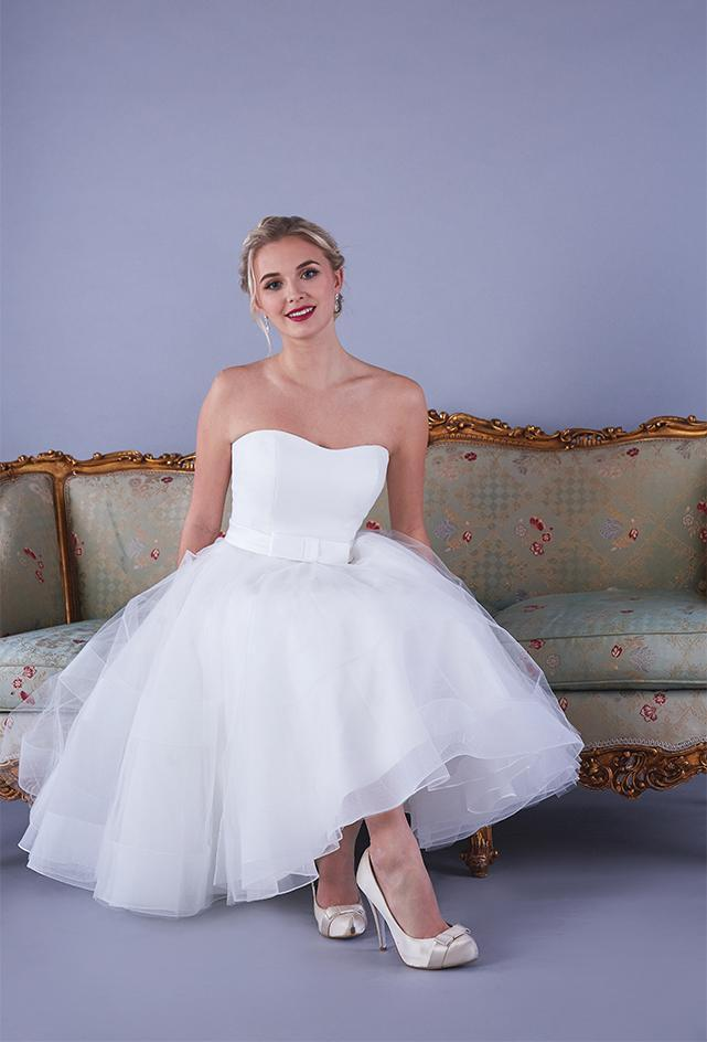 The Alba satin strapless Fifties style wedding gown with short chrin and tulle full skirt.