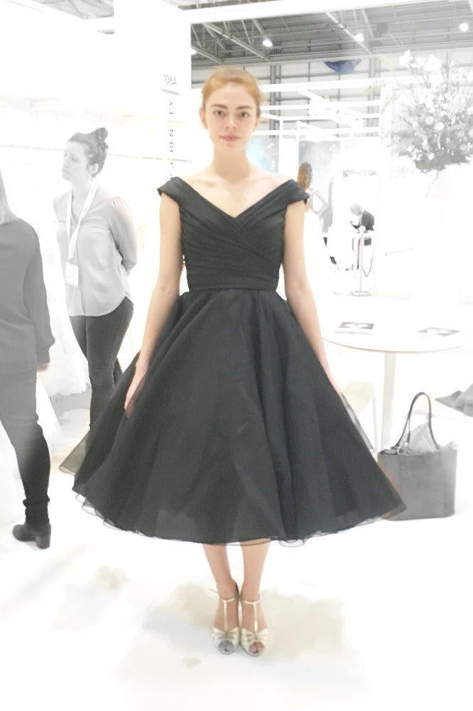 An all black version of our Annette  tea length dress suitable for weddings or prom