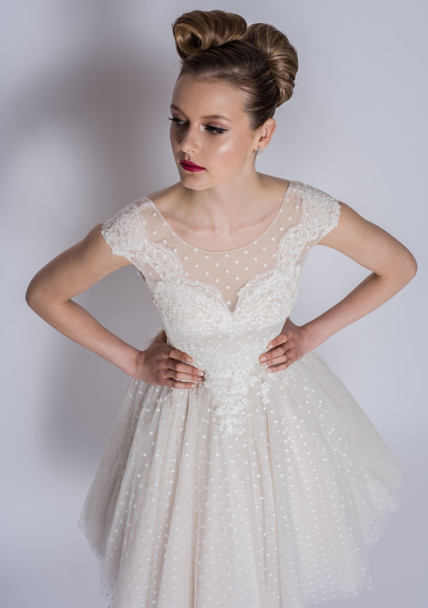86-Betty - Tea length short wedding dress
