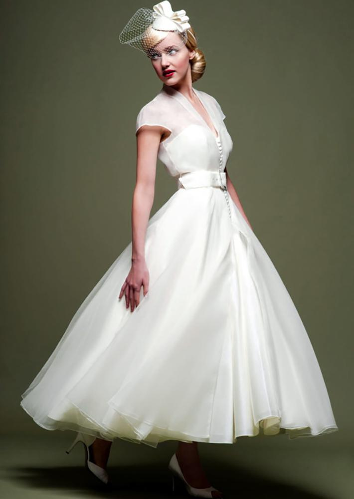 lou lou cicily longer tea  length fifties satin organza wedding dress