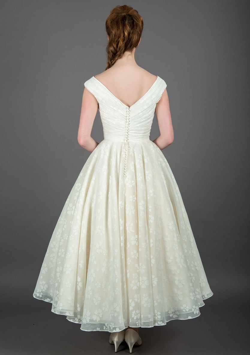 Image of the back of the Cilla floral wedding dress