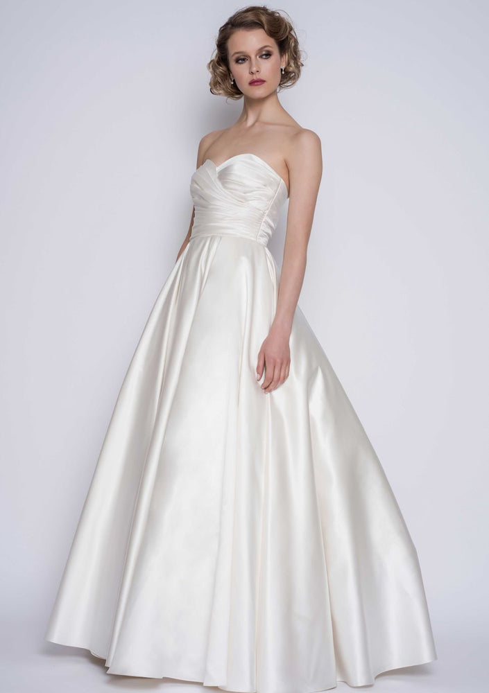 full length wedding gown in satin