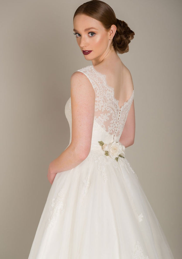fifties style tea length wedding gown