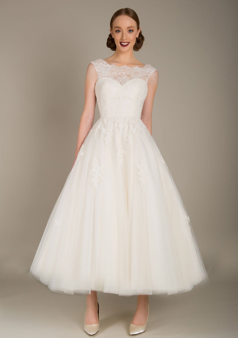 Image of the Emmie lace and tulle tea length wedding dress
