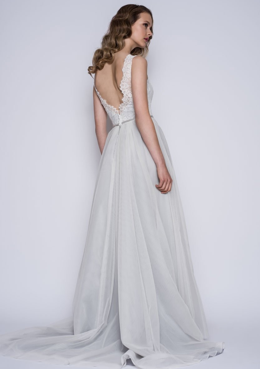 86-esme Full length bridal dress with lace bodice