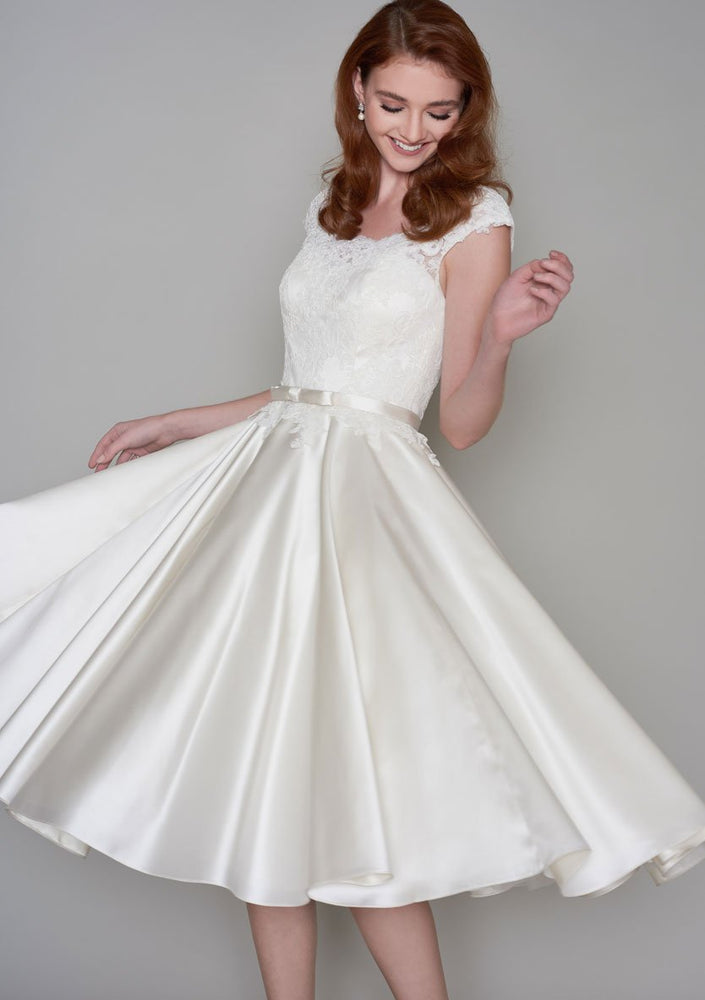 86-iris-r  Tea Length vintage inspired lace bodice and full circular Ivory satin skirt wedding dress