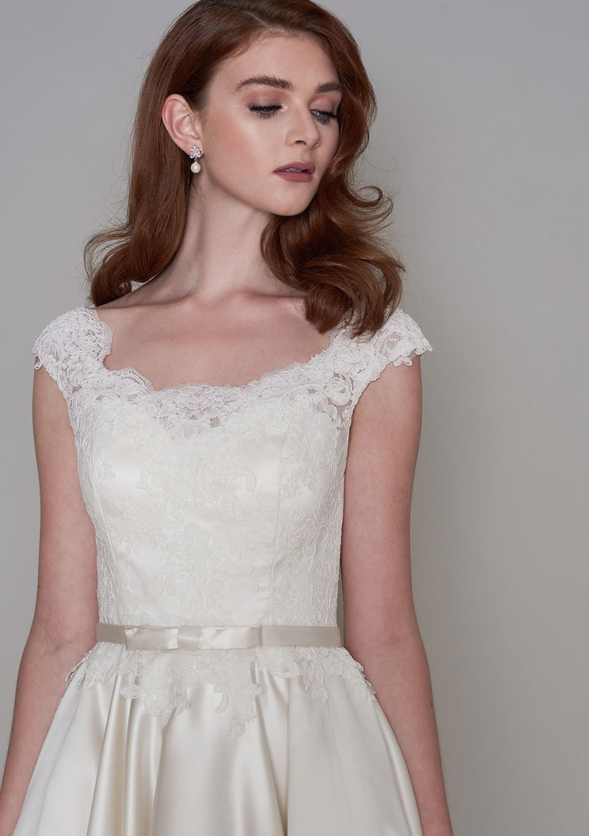 86-iris-s  Tea Length vintage inspired lace bodice and full circular satin skirt wedding dress