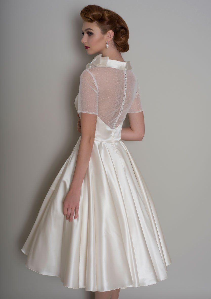 86-Hattie - Vintage inspired tea length satin wedding dress