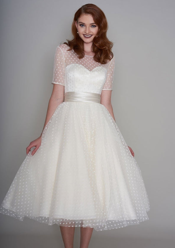 dotty tea length wedding dress