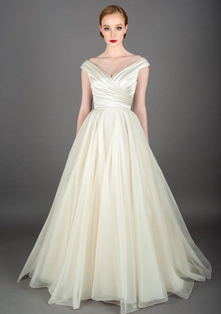 full length satin and organza fifties style wedding dress
