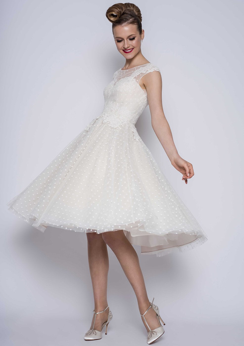 Image of Betty, a tea length vintage inspired dotty tulle dress with lace applique