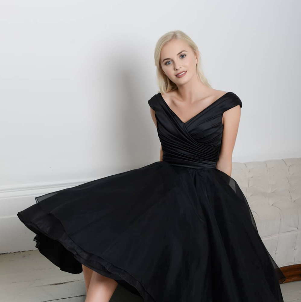 black satin tea length wedding dress