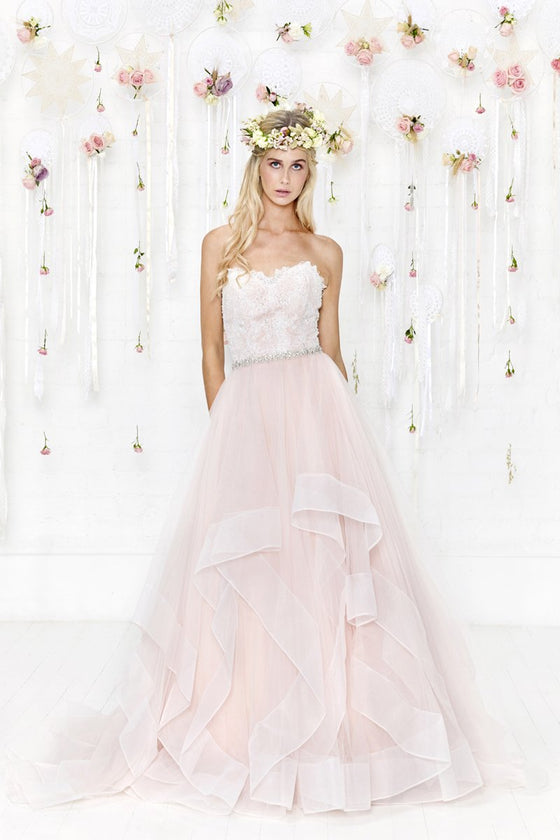 cb-bellatrix-r  Luxury strapless lace and tulle wedding gown by Charlotte Balbier