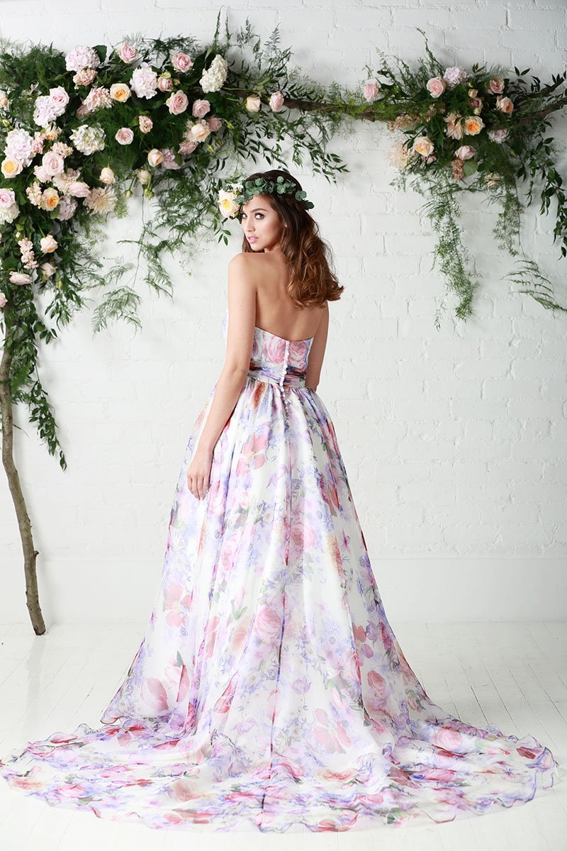 Image of the back of the Bloom floral wedding dress