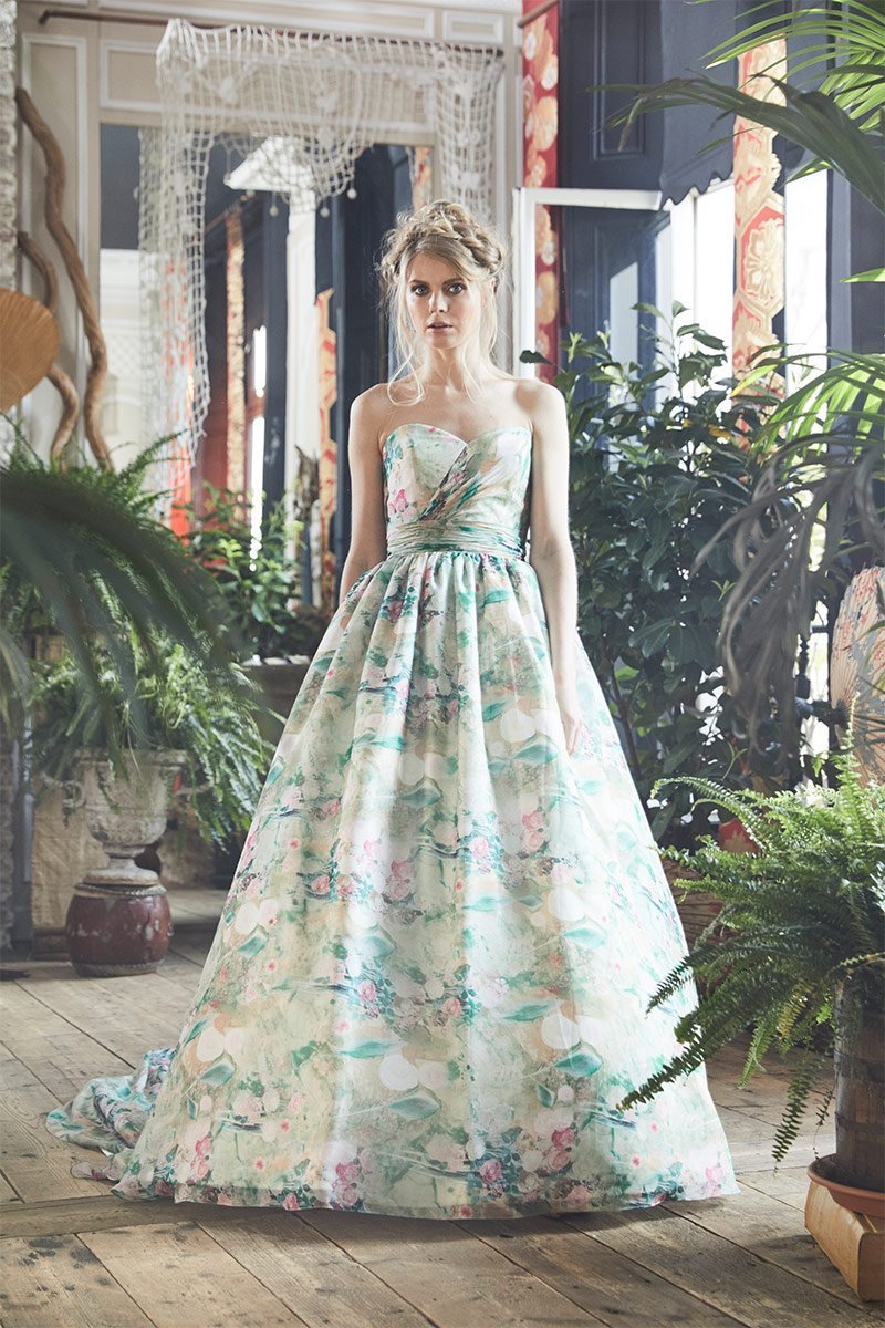Green And Pink Hues Chiffon Wedding Gown By Charlotte Balbier