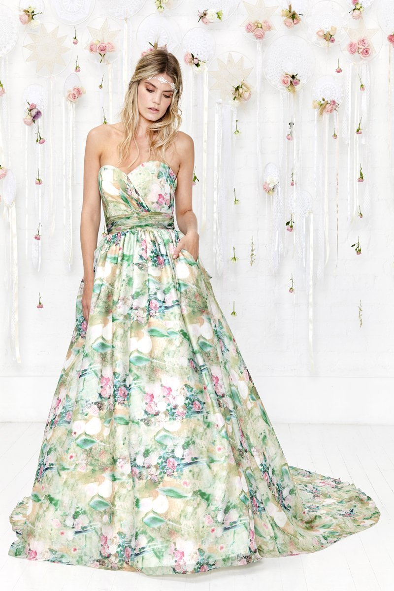 floral design wedding dress