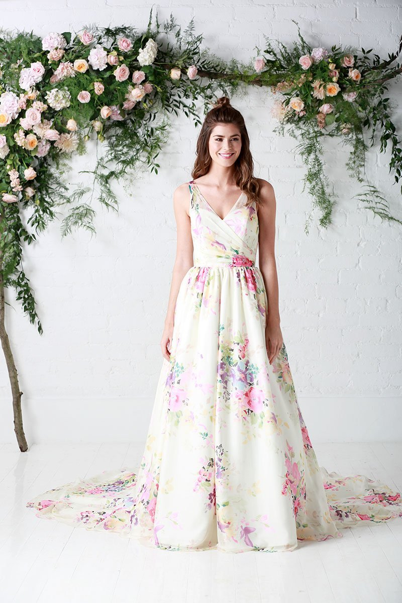 cb-untamedlove  Full length silk floral wedding dress by Charlotte Balbier