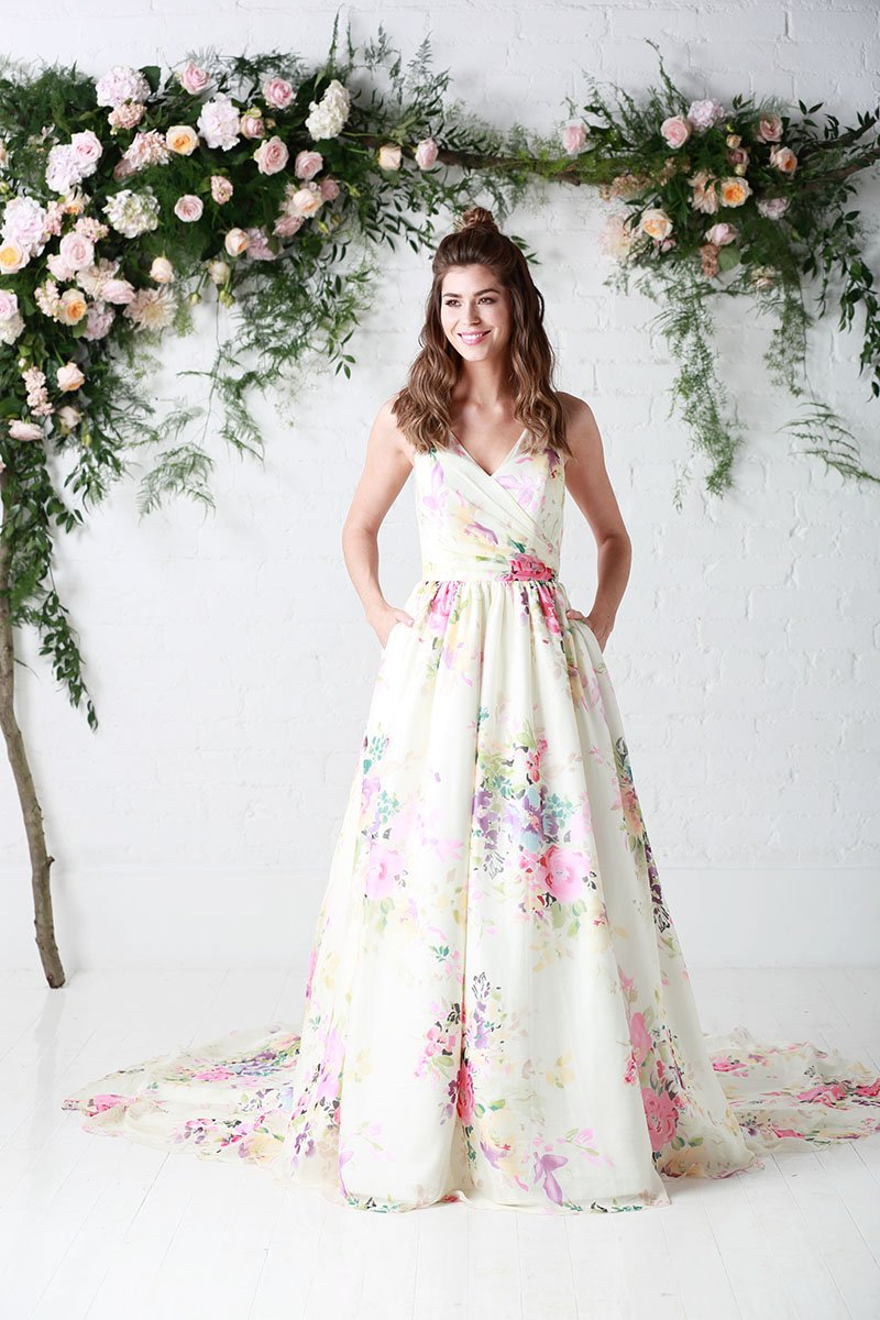Silk flower print wedding dress by Charlotte Balbier