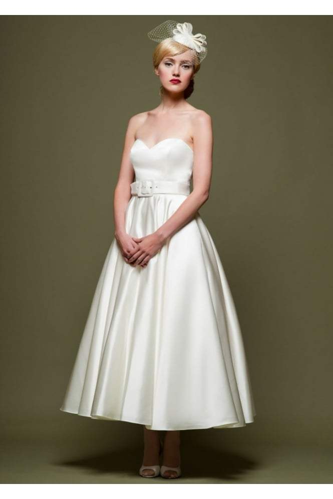86-cicely  Satin strapless tea length organza wedding dress