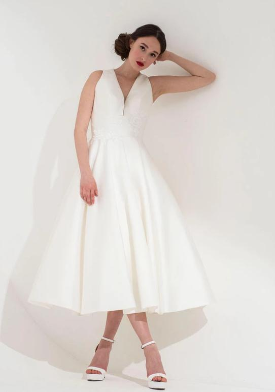 The Neve tea length bridal dress by Freda Bennet