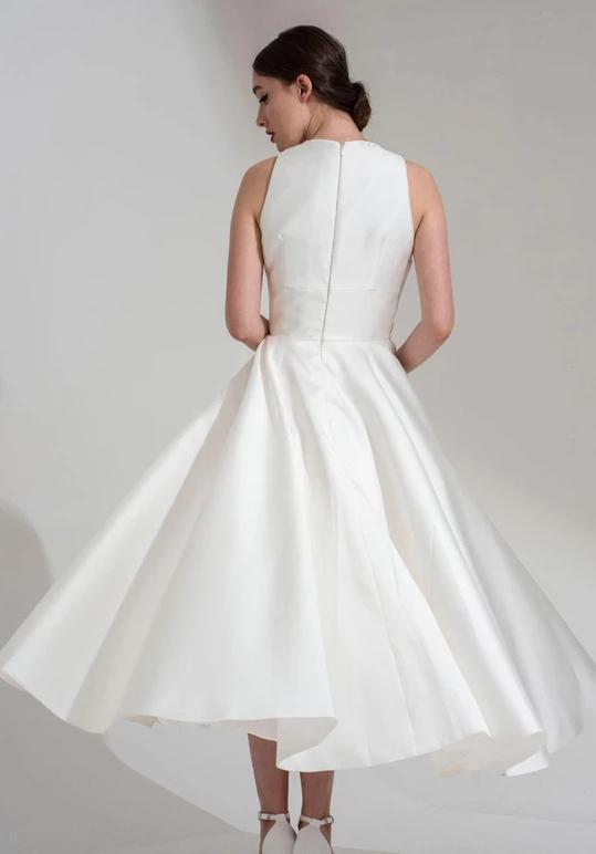 Back of the Neve tea length bridal dress by Freda Bennet