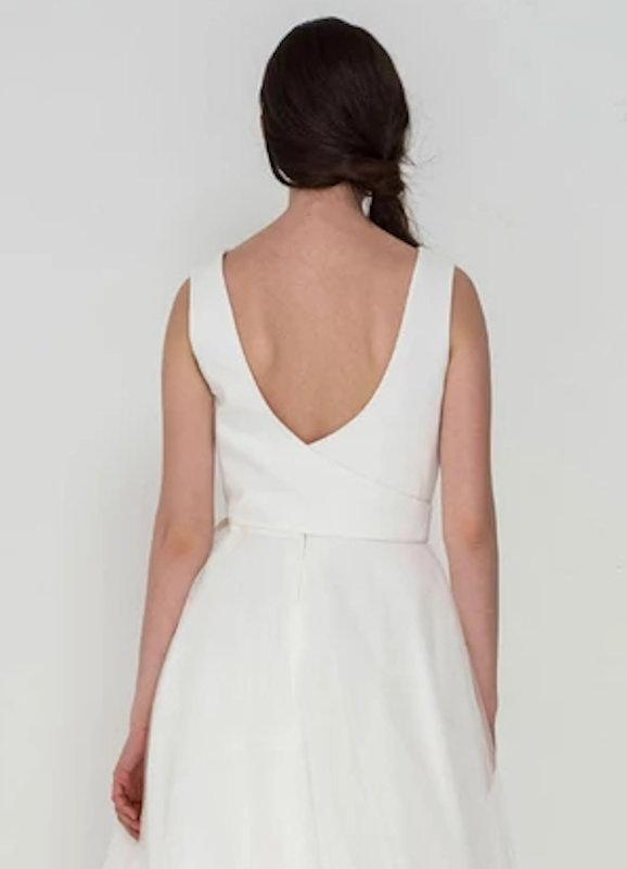 Image of the back of the Wren wedding dress by Freda Bennet