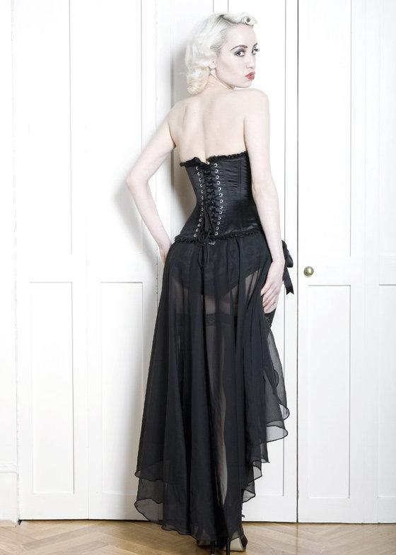 Back image of Long burlesque skirt with adjustable ribbon ties in sheer fabric.