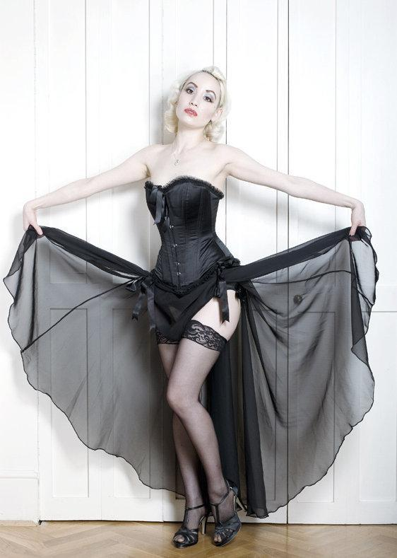 Image of Long burlesque skirt with adjustable ribbon ties showing fullness of skirt.