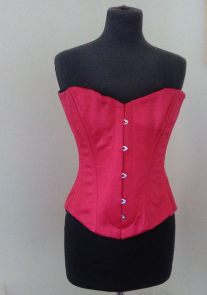 Luxury spoon busk overbust corset in rich red satin