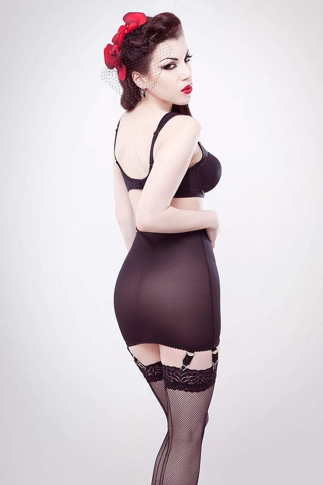 Classic black powermesh girdle