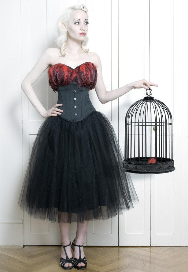 Image of soft tulle 50's length skirt occasion skirt in black