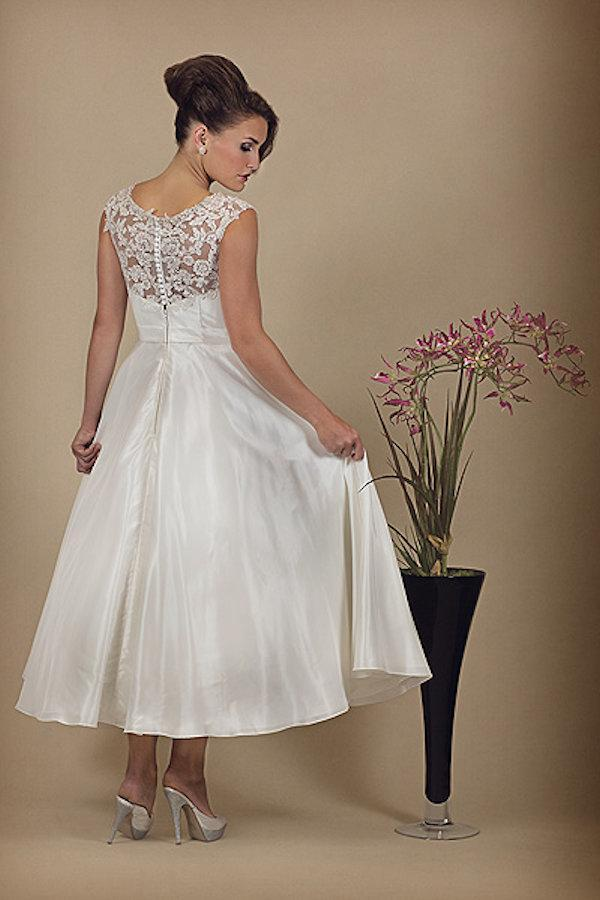 hn-1919-s Taffeta tea length wedding dress