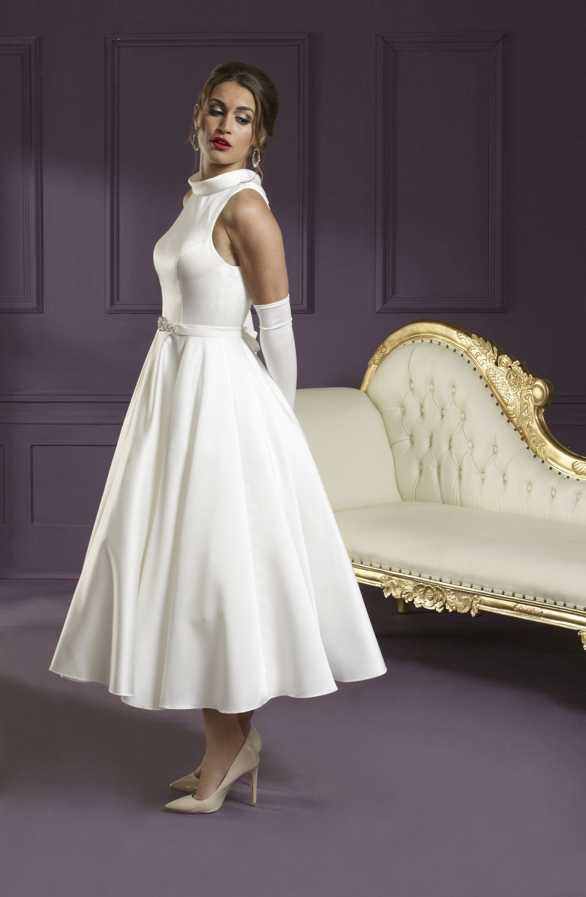 Ivory satin tea length wedding dress with cut out back