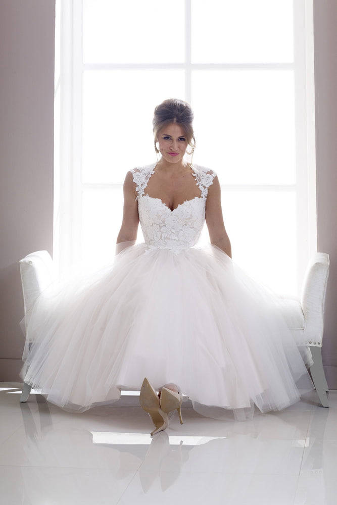 Lace and tulle tea length wedding gown
