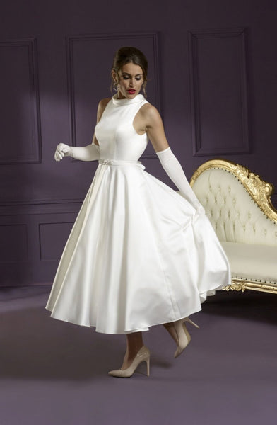Tea length satin gown with 1 inch band over waistline and dressed buttons on neckline and over back zip.