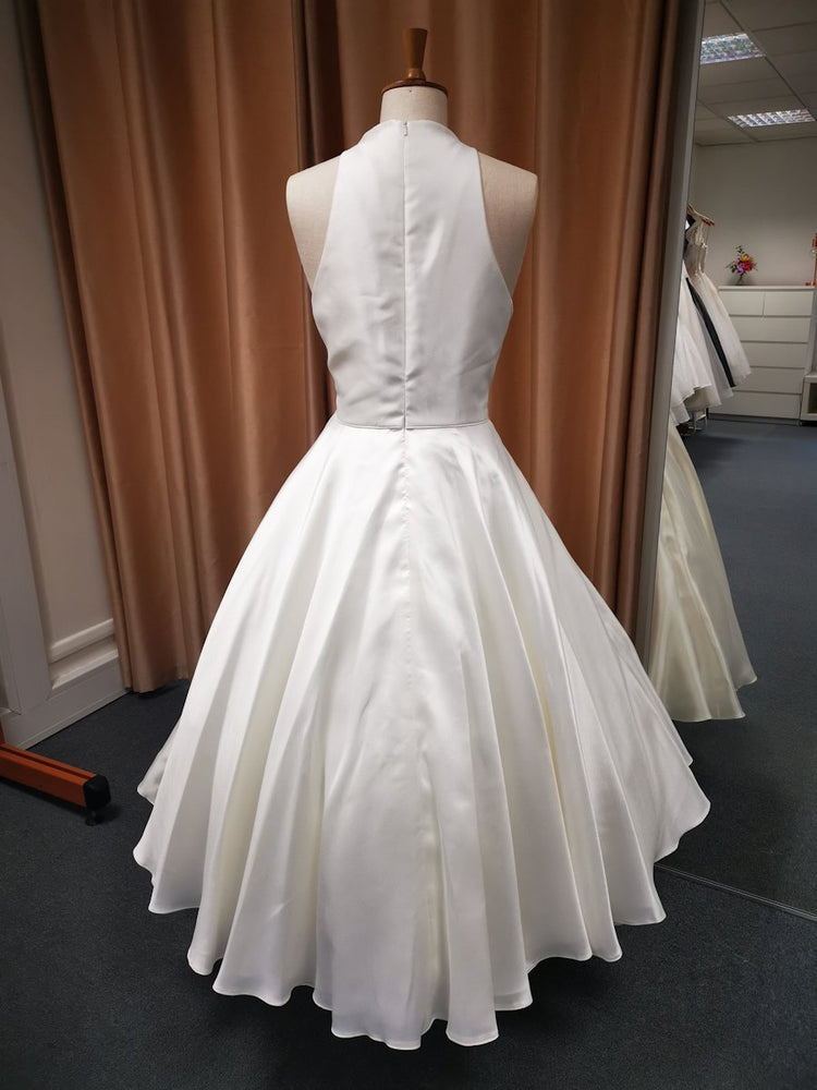 Back of Mikado tea length bridal gown