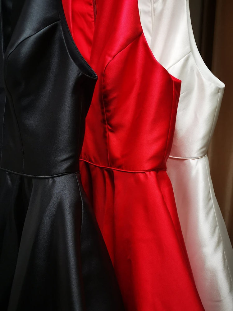 Available in red, black and ivory.