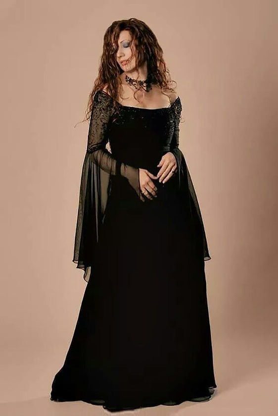 Chiffon medieval full length gown in black with floaty sleeves