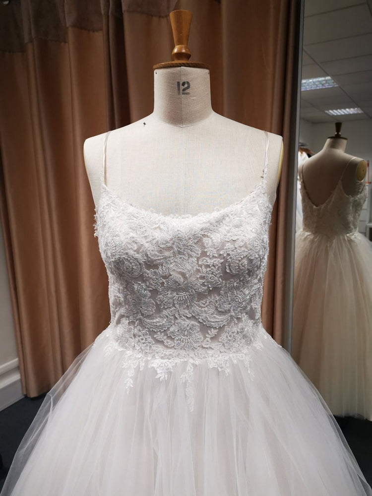 Closeup of bodice of wedding dress