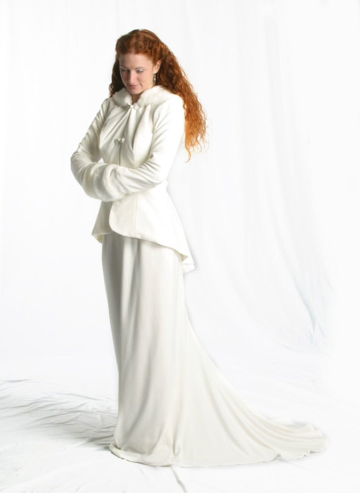Image of Ivory velvet and faux fur Victorian style jacket with hood