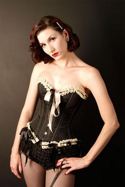 Finely tailored overbust corset in black taffeta