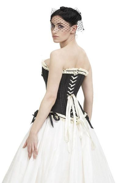 Back view of finely tailored overbust corset in black taffeta