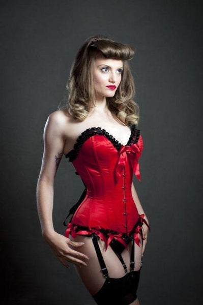 Frilled overbust is made from Duchess satin and trimmed with black satin pleated trim with red ribbon running through