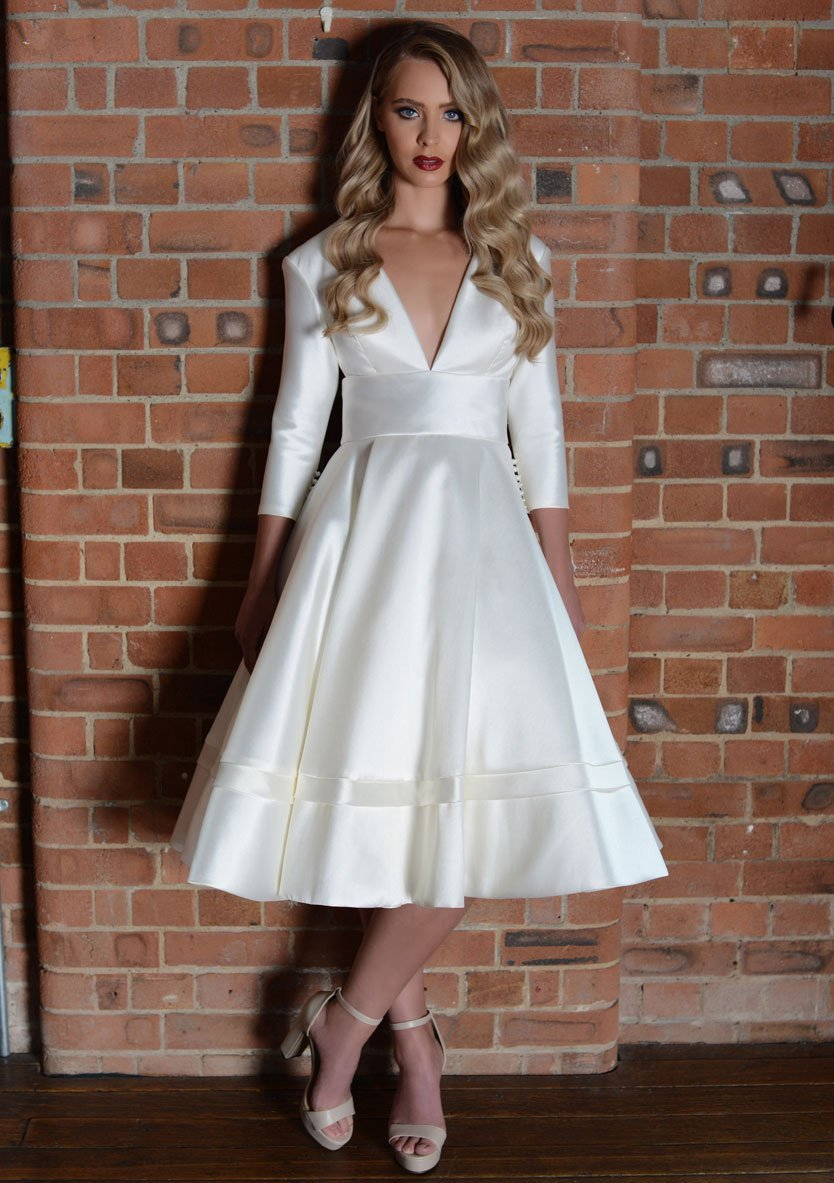 lw-elna-r  Tea length wedding dress with sleeves and deep v bodice