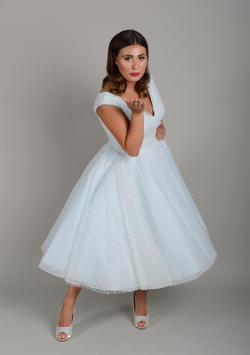 Fifties style vintage bombshell tea length wedding dress